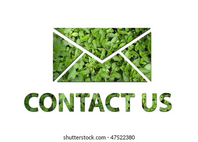 A mail symbol with the text contact us made out of green leaves to be used by a company to symbolize ecology or enrivonmental concerns.