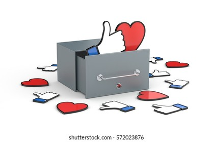 Mailbox with heart and thumb up symbols - social networks concepts. Social networks metaphor. 3d illustration