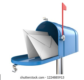 Mailbox and Mail. Blue Mailbox, open with 2 envelopes. Isolated on white background. 3D render.