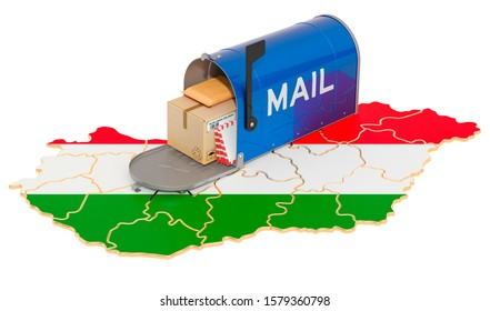Mailbox on the Hungarian map. Shipping in Hungary, concept. 3D rendering isolated on white background