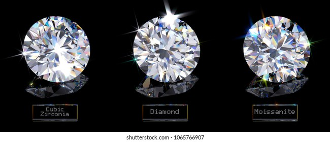Main diamond alternatives: cubic zirconia, moissanite with names on black glossy background. 3D rendering illustration