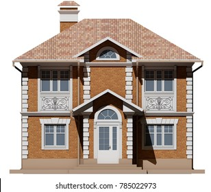 The main facade of the brick cottage is symmetry. 3D rendering