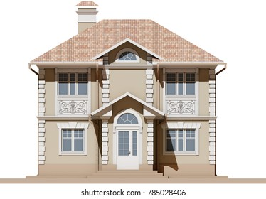 The main facade of a residential, beige and symmetrical house. 3D render of a model of an apartment house