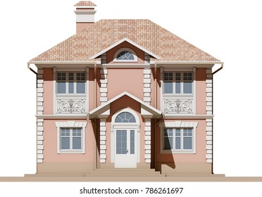 The main facade of a residential, pink and symmetrical house. 3D render of a model of an apartment house