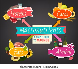 Main food groups - macronutrients. Carbohydrates, fats, proteins, alcohol. Dieting, healthcare and eutrophy concept. Beautiful illustration on a dark grey background. Landscape poster.