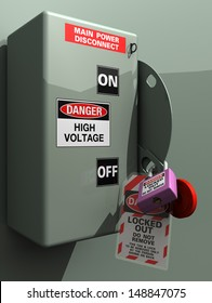 Main Power Disconnect locked out for service, inspection, or installation #2. Lockout tagout