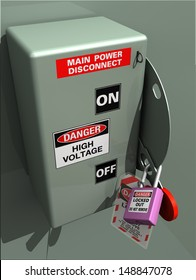 Main Power Disconnect locked out for service, inspection, or installation #1. Lockout Tagout