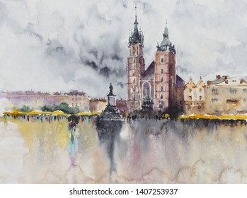 The main square of the Old Town in Krakow, Poland watercolors painted. Krakow is the second largest and one of the oldest cities in Poland.