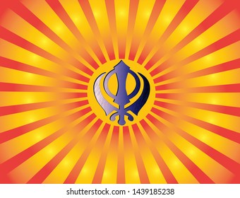 The main symbol of Sikhism - the sign of Khanda blue metal on the background of orange rays.