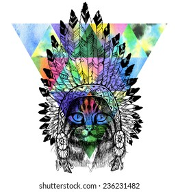 Maine coon cat portrait with native american indian chief headdress. Hand drawn raster illustration.