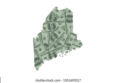 Maine State Map and Money Concept, Hundred Dollar Bills