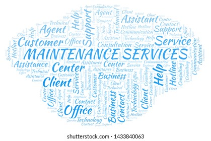 Maintenance Services word cloud. Wordcloud made with text only.