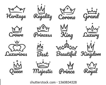 Majestic crown logo. Sketch prince and princess, hand drawn queen sign or king crowns graffiti sketch drawing. Tiara and jewel crown luxury logo  illustration isolated icons set