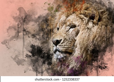 Majestic Lion Tiger Mixed media portrait of a animal. Digital watercolour portrait big cat with paint splatters, scratches and blots.
