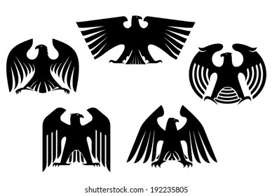 Majestic and powerful heraldic eagles set for tattoo or heraldry logo design. Vector version also available in gallery