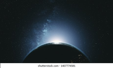 Majestic Rotate Earth Orbit Sunlight Glow Galaxy. Cosmos Interstellar Nebula Star Radiance Spin Planet Close up Satellite View Outer Space 3D