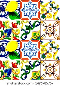 majolica ornaments on the tiles seamless pattern, floral ornament.