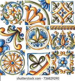 Majolica, vintage ornaments on the antique tiles, watercolor
