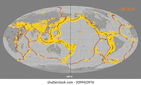 Major earthquakes happened up to year 2017, marked on the global bilevel map in the Mollweide projection centered on the 180 degree west, with tectonic plates borders and volcanoes