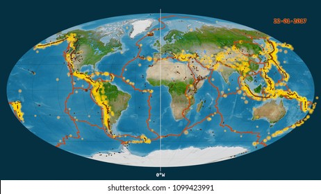 Major earthquakes happened up to year 2017, marked on the global satellite map in the Mollweide projection centered on the 0 degree west, with tectonic plates borders and volcanoes