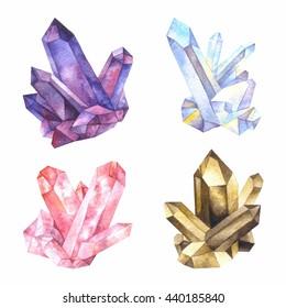 Major varieties of quartz: amethyst, rock crystal, rose quartz, smoky quartz. Watercolor illustration.
