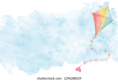 Makar sankranti symbol for card cover. Watercolor hand drawn illustration, colorful aquarelle kite with little heart flying in clouds