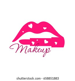 Make up beauty logo emblem with lips and lipstick instead of the lower lip with hearts.  Template illustration Cosmetics and fashion background for business card, book cover, beauty salon