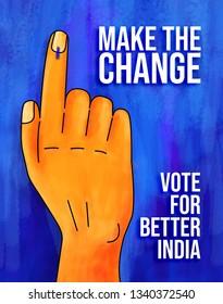 Make the change- Election india illustration poster