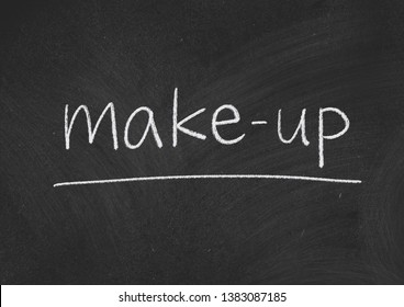 make up concept word on a blackboard background