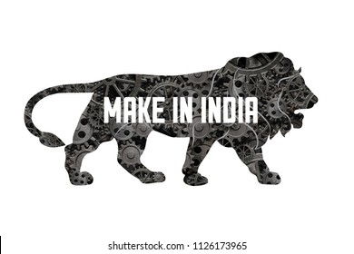 Make in India Symbol made of cogs