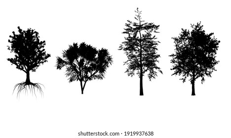 Make model form 3d render. set black shadow tree grey symbol forest isolated design. tree at hill silhouette.