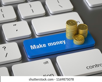 Make money key on the keyboard, 3d rendering,conceptual image.