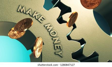 Make money online. Falling gold coins finance 3D illustration concept.
