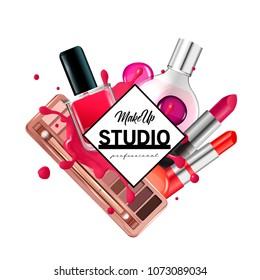 Make up studio logo design template.