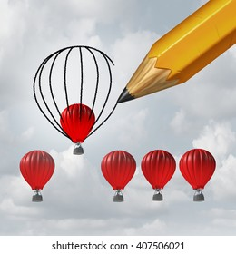 Make things better and improvement concept as a group of competing air balloons as one individual winner is helped by a pencil drawing a bigger shape for an advantage with 3D illustration elements.