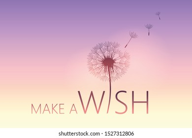make a wish typography with dandelion illustration