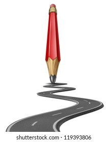 Make your own path and draw a business life strategy plan yourself with a red pencil drawing a road or highway to personal or financial success on white.