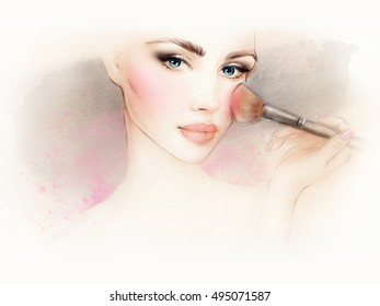 Makeup. Beautiful face. Woman portrait. Fashion illustration.