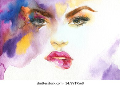 makeup. beautiful woman face. fashion illustration. contemporary  watercolor painting