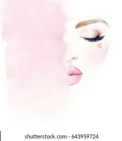 Makeup. Beautiful woman face and place for text. Fashion illustration. Watercolor painting