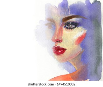 makeup. beautiful woman. fashion illustration. contemporary watercolor painting