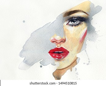 Schminken.schöne Frau. Modegrafik. zeitgenössische Aquarellmalerei