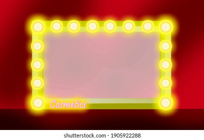 Makeup mirror isolated with gold lights on a red background. illustration