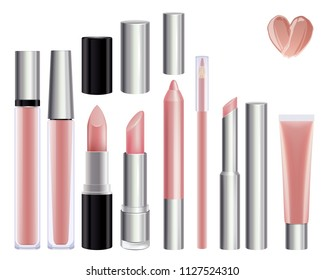 Make-up set for lips. Lipstick lip gloss smudge pencil lip liner. Nude color.