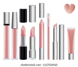 Make-up set for lips. Lipstick lip gloss smudge pencil lip liner. Nude color.