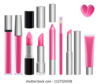 Make-up set for lips. Lipstick lip gloss smudge pencil lip liner. Pink color.