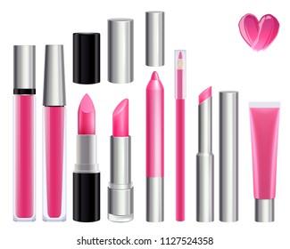 Make-up set for lips. Lipstick lip gloss smudge pencil lip liner. Pink color.