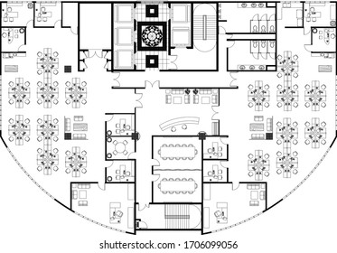 "MALACCA, MALAYSIA -JANUARY 16, 2020"" High-rise building typical office layout drawing complete with the office furniture in 2D CAD drawing. Drawing in black in white."