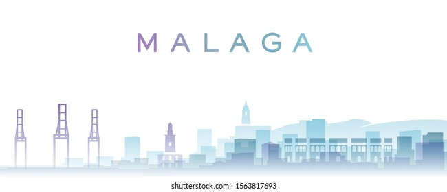 Malaga Transparent Layers Gradient Landmarks Skyline