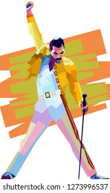 Malang indonesia, december 11, 2018 :potrait freddie mercury on color pop art style isolated.